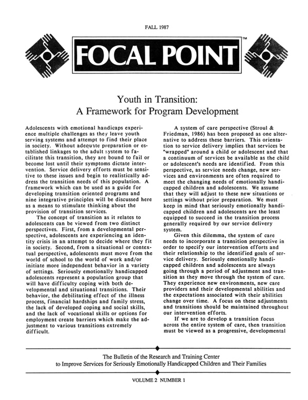 Fall 1987 Focal Point cover