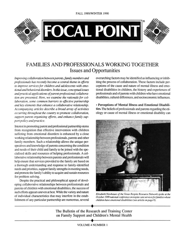 Fall 1989/Winter 1990 Focal Point cover