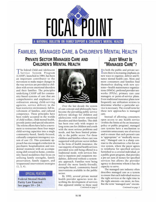 Fall 1996 Focal Point cover