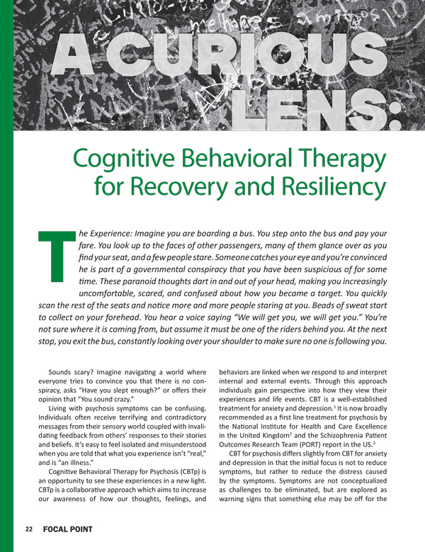 A Curious Lens: Cognitive Behavioral Therapy for Recovery and Resiliency
