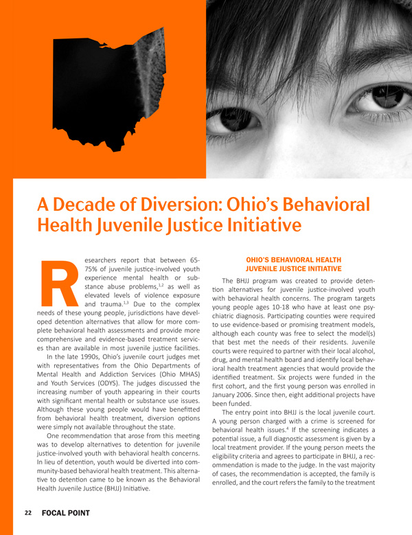 A Decade of Diversion: Ohio's Behavioral Health Juvenile Justice Initiative and Resiliency
