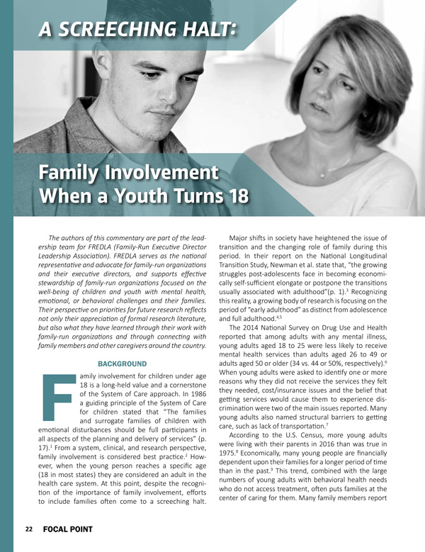 A Screeching Halt: Family Involvement When a Youth Turns 18
