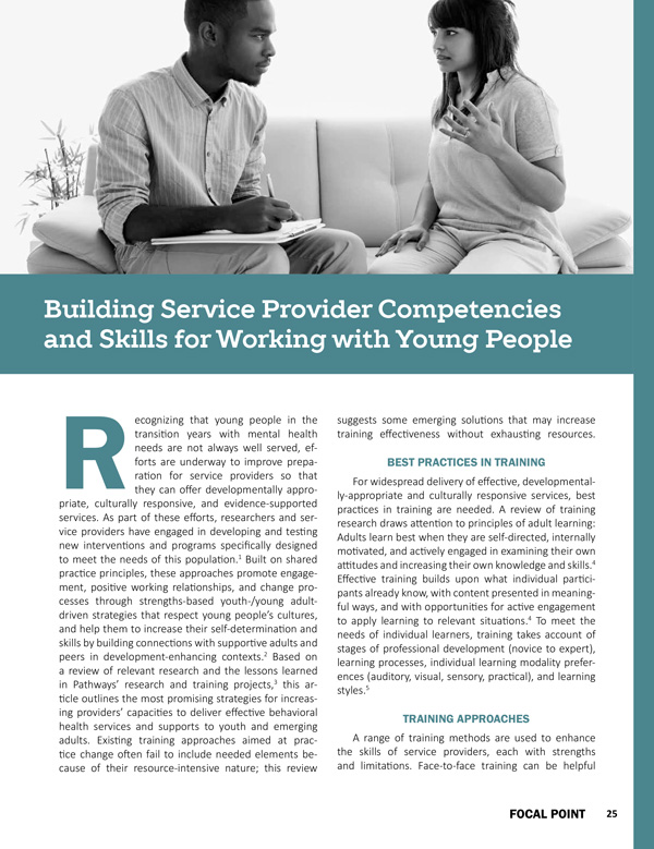 Building Service Provider Competencies and Skills for Working with Young People
