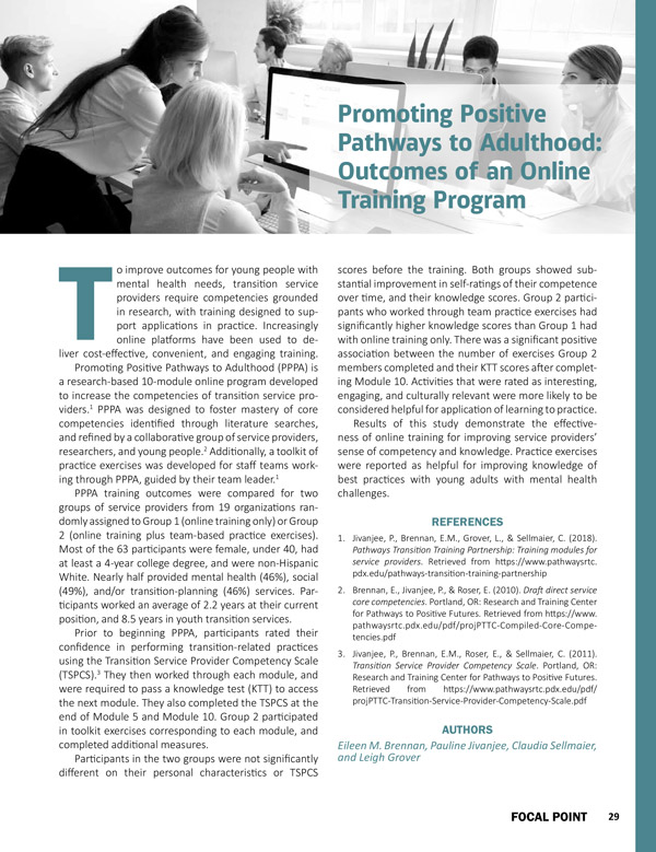 Promoting Positive Pathways to Adulthood: Outcomes of an Online Training Program
