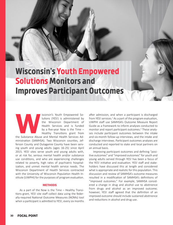 Wisconsin's Youth Empowered Solutions Monitors and Improves Participant Outcomes