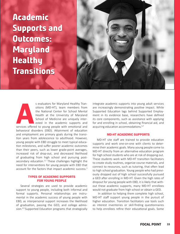 Academic Supports and Outcomes: Maryland Healthy Transitions