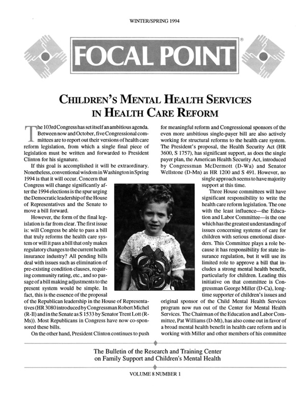 Winter/Spring 1994 Focal Point cover