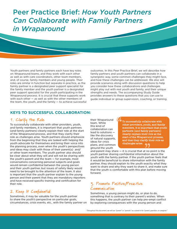 Peer Practice Brief: How Youth Partners Can Collaborate with Family Partners in Wraparound