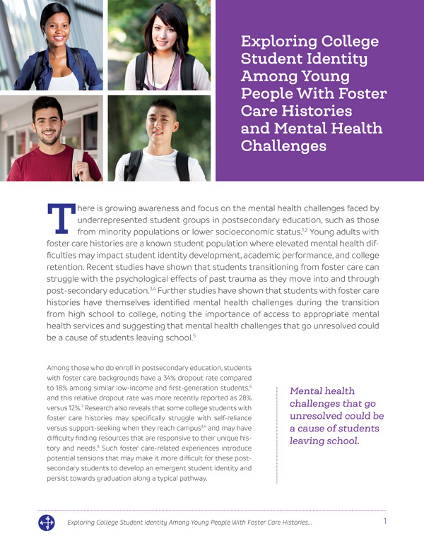 Exploring College Student Identity Among Young People With Foster Care Histories and Mental Health Challenges
