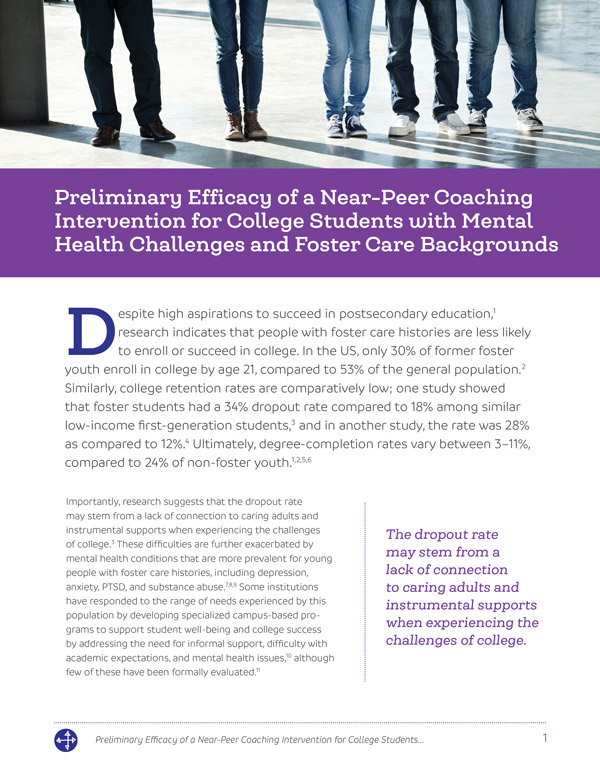Preliminary Efficacy of a Near-Peer Coaching Intervention for College Students with Mental Health Challenges and Foster Care Backgrounds