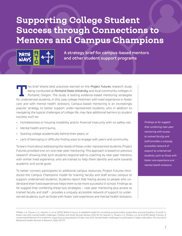 Supporting College Student Success Through Connections to Mentors and Campus Champions