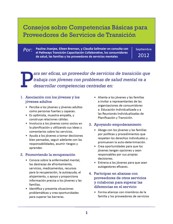 Tips on Core Competencies for Transition Service Providers (Spanish)