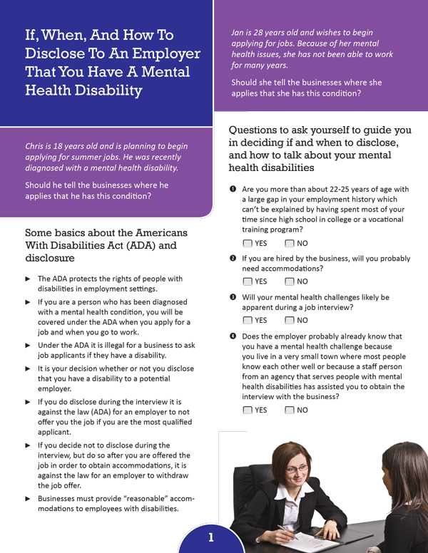 If, When, and How to Disclose to an Employer That You Have a Mental Health Disability