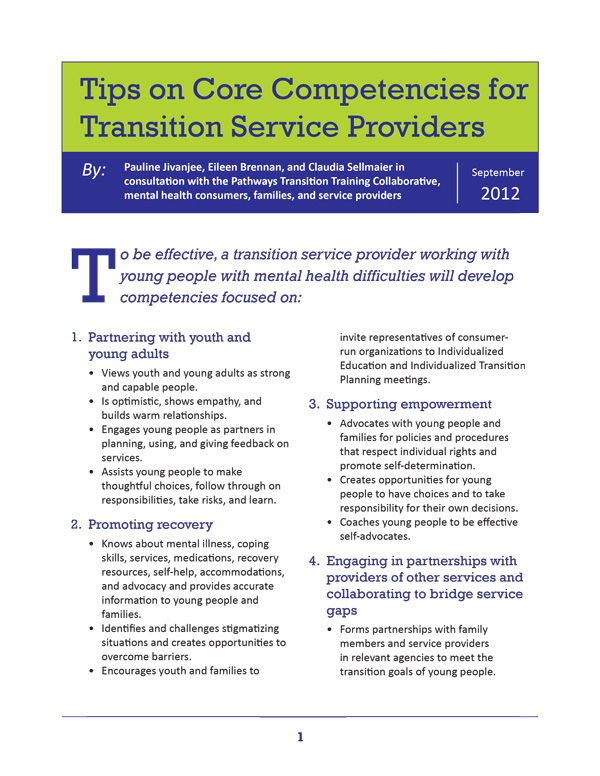 Tips on Core Competencies for Transition Service Providers