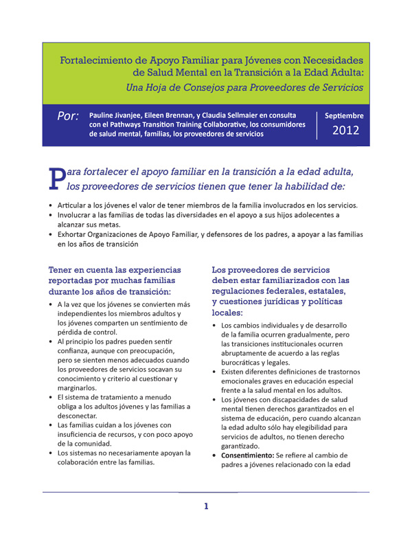 Strengthening Family Support for Young People with Mental Health Needs in the Transition to Adulthood (Spanish)