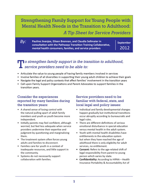 Strengthening Family Support for Young People with Mental Health Needs in the Transition to Adulthood