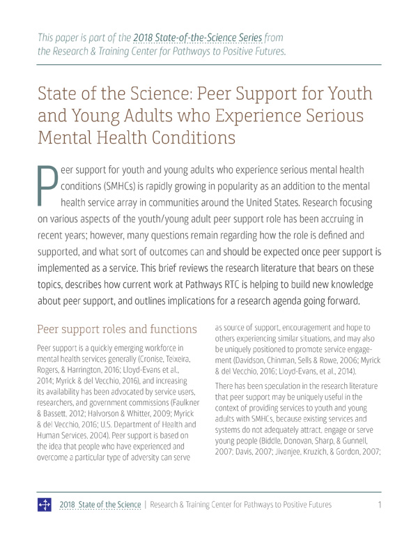 State of the Science 2018: Peer Support for Youth and Young Adults