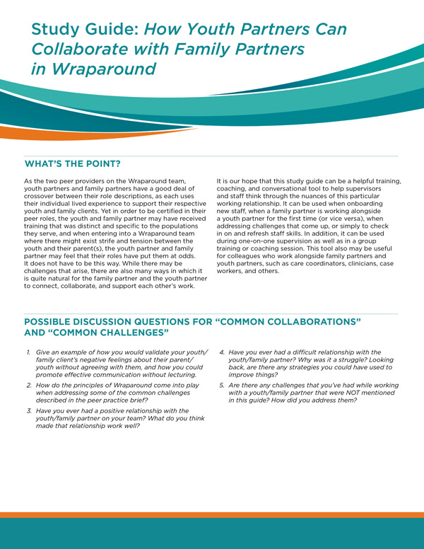 Study Guide: How Youth Partners Can Collaborate with Family Partners in Wraparound