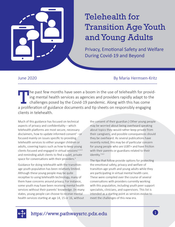 Telehealth for Transition Age Youth and Young Adults: Privacy, Emotional Safety, and Welfare During Covid-19 and Beyond