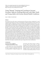 Using 'Remote' Training and Coaching to Increase Providers' Skills author's manuscript [enable images to see]